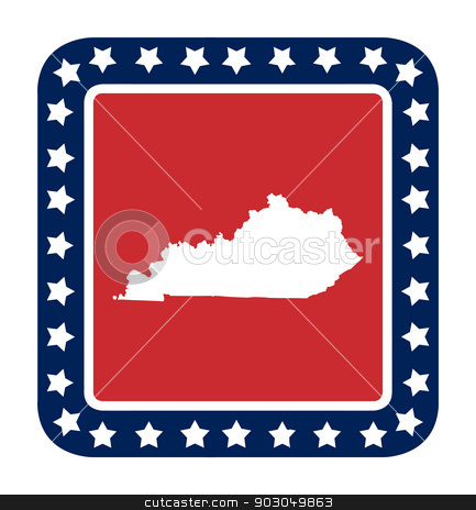 Kentucky state button stock photo, Kentucky state button on American flag in flat web design style, isolated on white background. by Martin Crowdy
