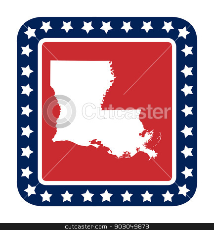 Louisiana state button stock photo, Louisiana state button on American flag in flat web design style, isolated on white background. by Martin Crowdy