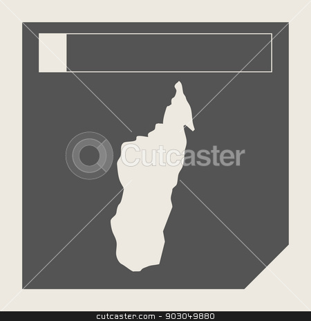 Madagascar map button stock photo, Madagascar map button in responsive flat web design map button isolated with clipping path. by Martin Crowdy