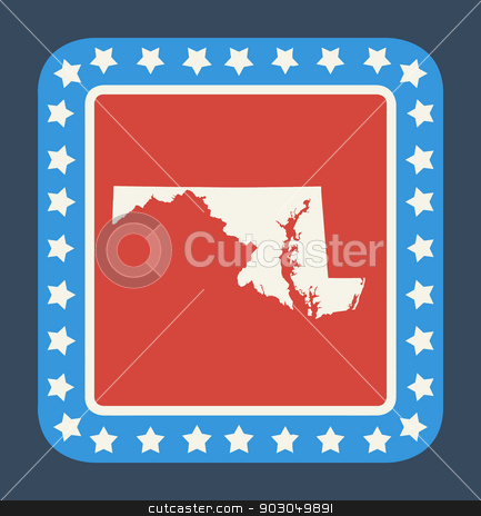 Maryland state button stock photo, Maryland state button on American flag in flat web design style, isolated on white background. by Martin Crowdy
