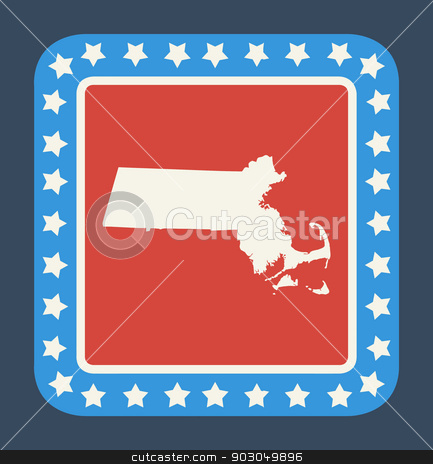 Massachusetts state button stock photo, Massachusetts state button on American flag in flat web design style, isolated on white background. by Martin Crowdy