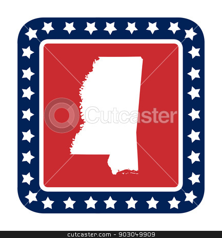 Mississippi state button stock photo, Mississippi state button on American flag in flat web design style, isolated on white background. by Martin Crowdy