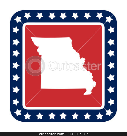 Missouri state button stock photo, Missouri state button state button on American flag in flat web design style, isolated on white background. by Martin Crowdy