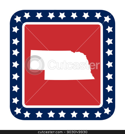 Nebraska state button stock photo, Nebraska state button on American flag in flat web design style, isolated on white background. by Martin Crowdy