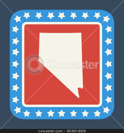 Nevada state button stock photo, Nevada state button on American flag in flat web design style, isolated on white background. by Martin Crowdy
