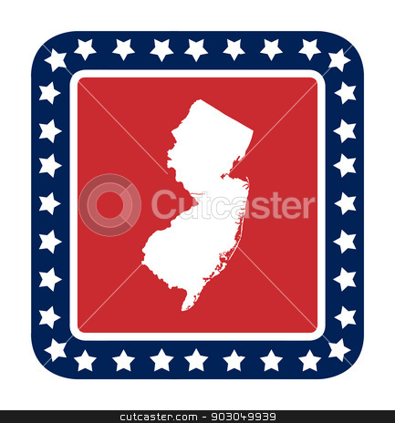 New Jersey state button stock photo, New Jersey state button on American flag in flat web design style, isolated on white background. by Martin Crowdy