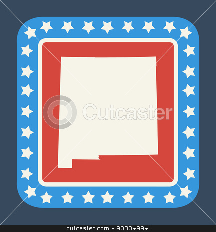 New Mexico state button stock photo, New Mexico state button on American flag in flat web design style, isolated on white background. by Martin Crowdy