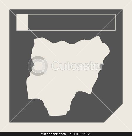 Nigeria map button stock photo, Nigeria map button in responsive flat web design map button isolated with clipping path. by Martin Crowdy