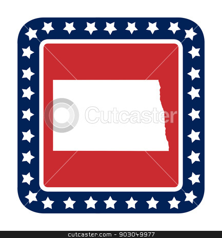 North Dakota state button stock photo, North Dakota state button on American flag in flat web design style, isolated on white background. by Martin Crowdy