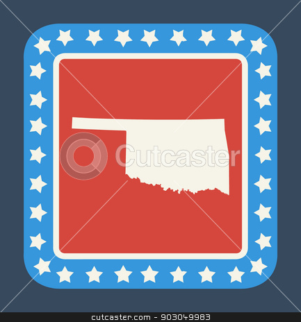 Oklahoma state button stock photo, Oklahoma state button on American flag in flat web design style, isolated on white background. by Martin Crowdy