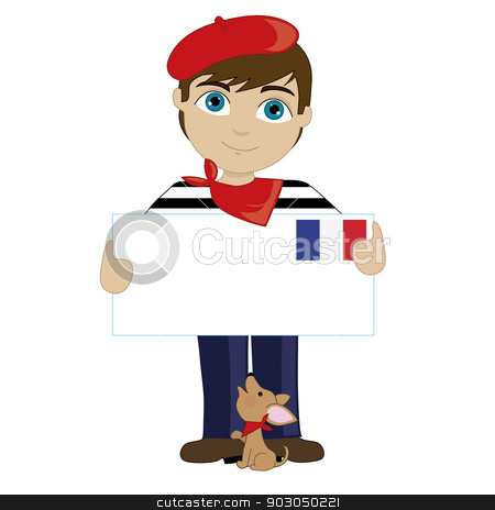 French Boy Sign stock vector clipart, A little boy is dressed in a traditional French costume and holding a sign that looks like a big letter with the French flag in the upper right hand corner by Maria Bell