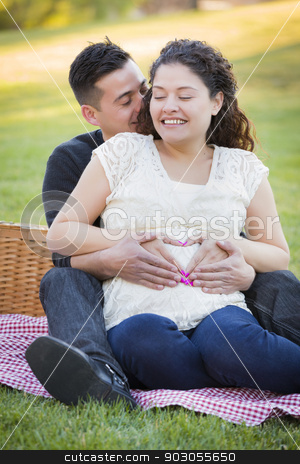 Pregnant Hispanic Couple Making Heart Shape with Hands on Belly stock photo, Pregnant Hispanic Couple Making Heart Shape with Hands on Belly in The Park Outdoors. by Andy Dean