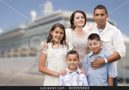 Young Happy Hispanic Family In Front of Cruise Ship stock photo, Young Happy Hispanic Family On The Dock In Front of a Cruise Ship. by Andy Dean