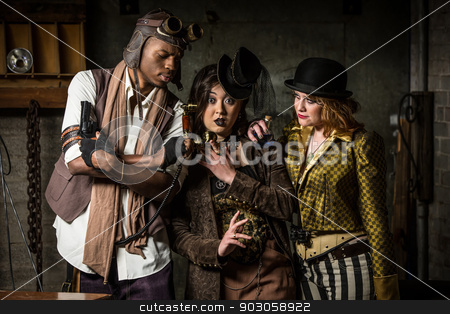 Steampunk Trio with Phone stock photo, Three Steampunks with Underground Lair with Retro Phone by Scott Griessel
