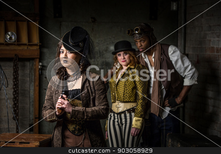 Steampunk Trio with In Retro Lab stock photo, Three Steampunks with in Underground Retro Lab by Scott Griessel