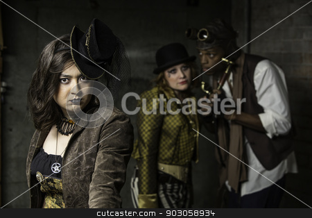 Steampunk Trio stock photo, Young Steam Punks PosIng in Underground Lair  by Scott Griessel