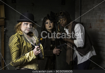 Steampunk Trio stock photo, Steam Punks in Underground Lair with Weapons by Scott Griessel