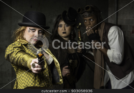 Steampunk Trio stock photo, Steam Punks in Underground Lair with Weapon by Scott Griessel