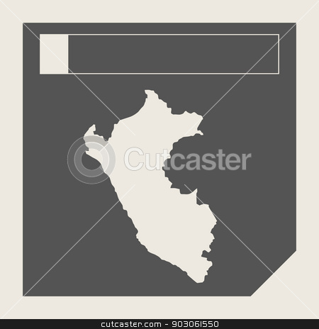 Peru map button stock photo, Peru map button in responsive flat web design map button isolated with clipping path. by Martin Crowdy