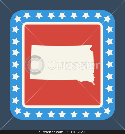 South Dakota state button stock photo, South Dakota state button on American flag in flat web design style, isolated on white background. by Martin Crowdy
