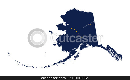 State of Alaska flag map stock photo, State of Alaska flag map isolated on a white background, U.S.A. by Martin Crowdy