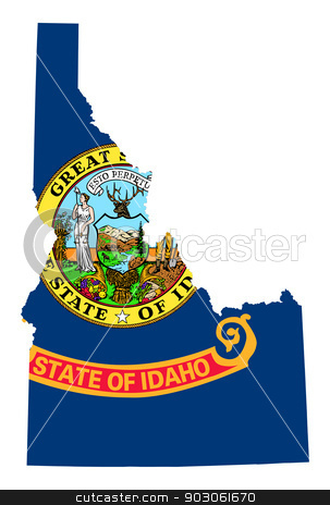 State of Idaho flag map  stock photo, State of Idaho flag map isolated on a white background, U.S.A.  by Martin Crowdy