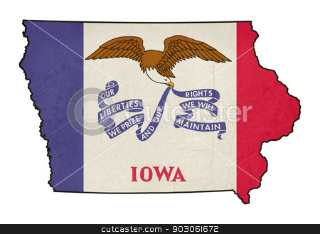 State of Iowa grunge flag map stock photo, Grunge state of Iowa grunge flag map isolated on a white background, U.S.A. by Martin Crowdy