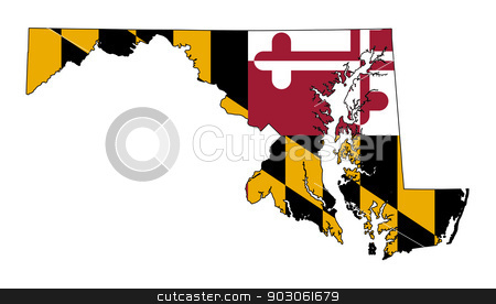 State of Maryland flag map stock photo, State of Maryland flag map isolated on a white background, U.S.A. by Martin Crowdy
