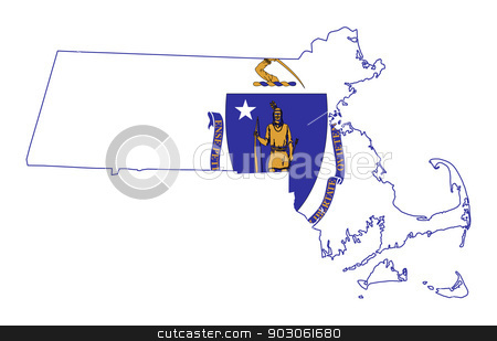 State of Massachusetts flag map stock photo, State of Massachusetts flag map isolated on a white background, U.S.A.  by Martin Crowdy