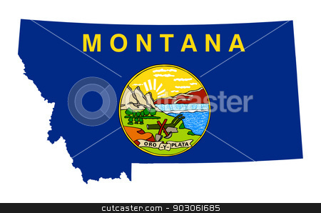 State of Montana flag map stock photo, State of Montana flag map isolated on a white background, U.S.A. by Martin Crowdy