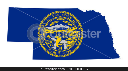 State of Nebraska flag map stock photo, State of Nebraska flag map isolated on a white background, U.S.A.   by Martin Crowdy