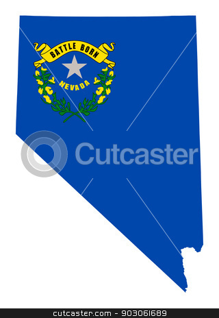 State of Nevada flag map stock photo, State of Nevada flag map isolated on a white background, U.S.A. by Martin Crowdy