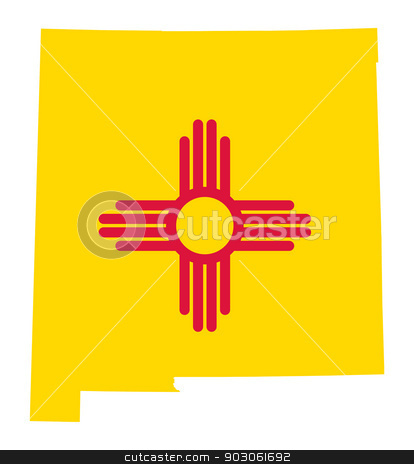 State of New Mexico flag map stock photo, State of New Mexico flag map isolated on a white background, U.S.A. by Martin Crowdy