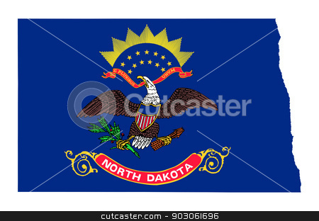 State of North Dakota flag map stock photo, State of North Dakota flag map isolated on a white background, U.S.A. by Martin Crowdy