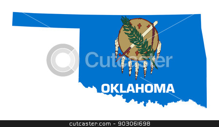 State of Oklahoma flag map stock photo, State of Oklahoma flag map isolated on a white background, U.S.A.  by Martin Crowdy