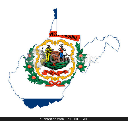 State of West Virginia flag map stock photo, State of West Virginia flag map isolated on a white background, U.S.A.  by Martin Crowdy