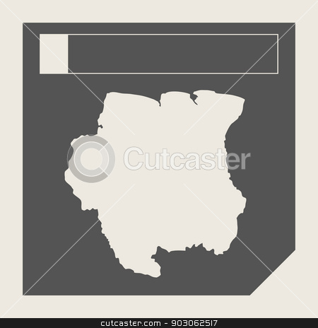 Suriname map button stock photo, Suriname map button in responsive flat web design map button isolated with clipping path. by Martin Crowdy