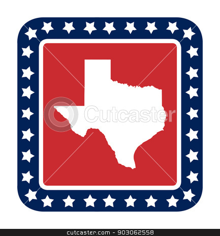 Texas state button stock photo, Texas state button on American flag in flat web design style, isolated on white background. by Martin Crowdy