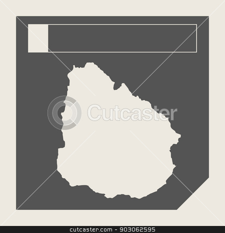 Uruguay map button stock photo, Uruguay map button in responsive flat web design map button isolated with clipping path. by Martin Crowdy