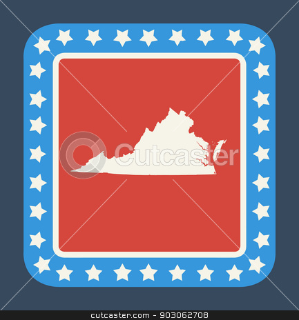 Virginia state button stock photo, Virginia state button on American flag in flat web design style, isolated on white background. by Martin Crowdy