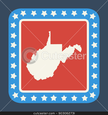 West Virginia state button stock photo, West Virginia state button on American flag in flat web design style, isolated on white background. by Martin Crowdy