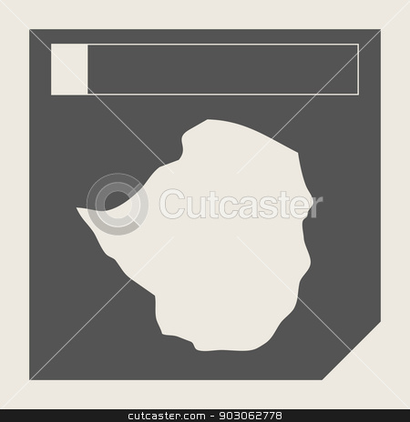 Zimbabwe map button stock photo, Zimbabwe map button in responsive flat web design map button isolated with clipping path. by Martin Crowdy