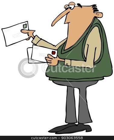 Man looking at his mail stock photo, This illustration depicts a man looking at envelopes from his mail. by Dennis Cox