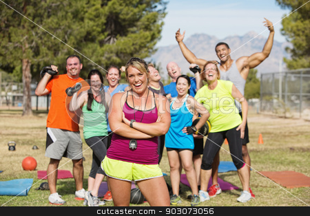 Happy Boot Camp Fitness Group stock photo, Group of happy people in boot camp fitness class by Scott Griessel