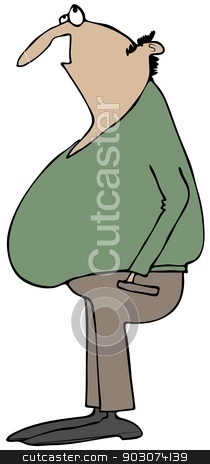 Man looking up stock photo, This illustration depicts a chubby man with hands in his pockets gazing upwards. by Dennis Cox