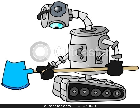 Robot snow shovel stock photo, This illustration depicts a robot on tracks wearing ear muffs holding a snow shovel. by Dennis Cox