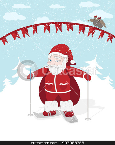 Santa stock photo, Vector Christmas illustration with Santa, snow and birds by Olga Altunina