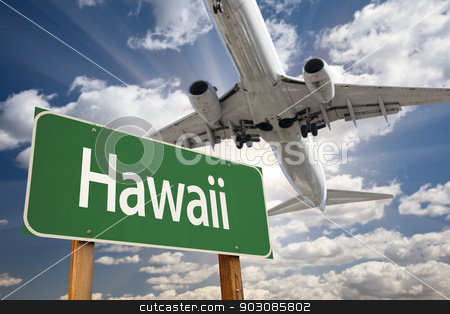 Hawaii Green Road Sign and Airplane Above stock photo, Hawaii Green Road Sign and Airplane Above with Dramatic Blue Sky and Clouds. by Andy Dean