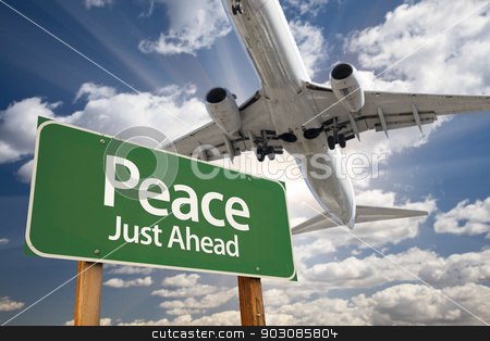 Peace Green Road Sign and Airplane Above stock photo, Peace Green Road Sign and Airplane Above with Dramatic Blue Sky and Clouds. by Andy Dean