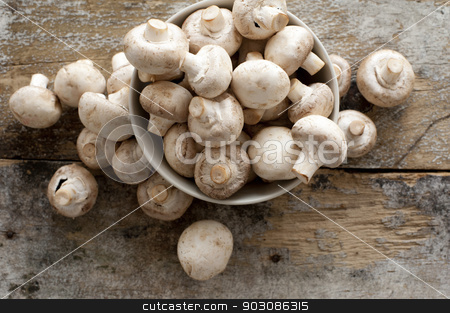Fresh whole white button mushrooms stock photo, Fresh whole white button mushrooms, or agaricus, in a bowl on a rustic wooden counter ready to be cleaned and washed for dinner, overhead view by Stephen Gibson